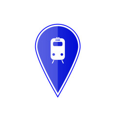 blue map pointer with subway or railway station vector image