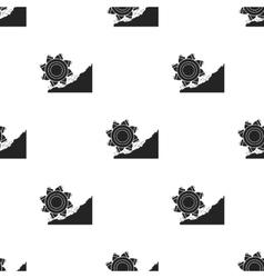 Bucket-wheel excavator icon in black style vector
