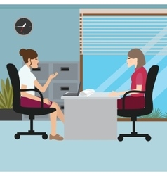 Business woman talk with her boss interview job vector
