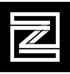 Capital letter Z From white stripe enclosed in a vector