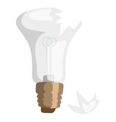 Cartoon broken bulb lamp light vector