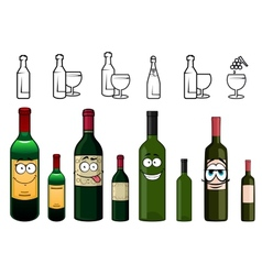 Cartoon characters of wine bottles in various vector image