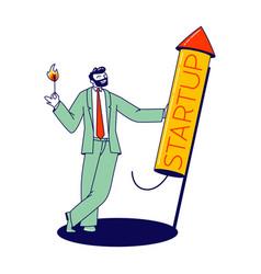 Cheerful businessman burning startup petard wick vector