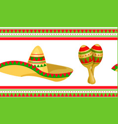 cinco de mayo mexican festive seamless pattern vector image