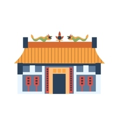 Classic Chinese House With Dragons On The Roof vector