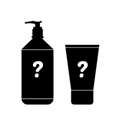 cosmetics product bottles with question mark vector image