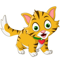 cute little cat cartoon posing vector image