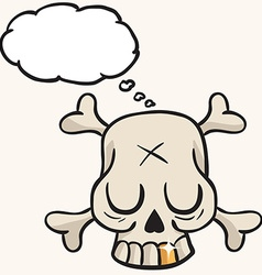 cute skull with golden tooth and thought bubble vector image