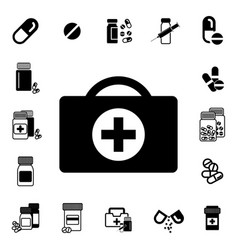 doctors bag with cross or medical suitcase icon vector image