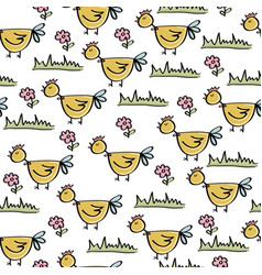 doodle seamless pattern with chicken vector image