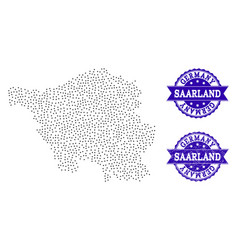 Dotted map of saarland state and distress stamp vector