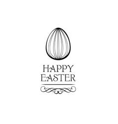 Easter egg swirls ornate frame greeting card vector