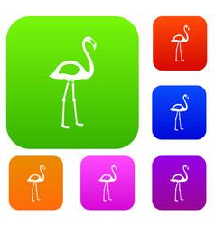 Flamingo set color collection vector