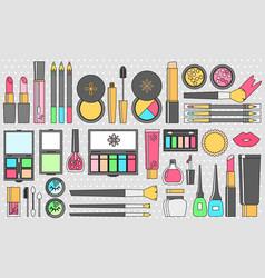 Flat cosmetics set beauty fashion products vector