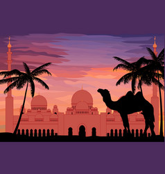 flat style sheikh zayed grand mosque in sunset vector image