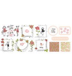 floral girls doodle frames in hand drawn style vector image