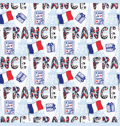 France seamless pattern with creative doodle vector