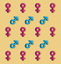 Gender symbols pattern background vector