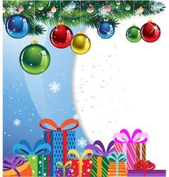 Gift boxes and Christmas balls vector image