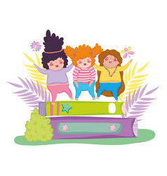Girls enjoying in the books education with plants vector
