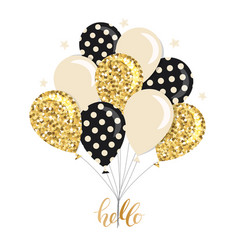 Glossy balloons bunch gold glitter polka dots vector