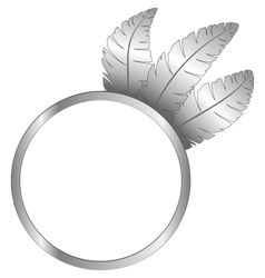 Gray frame ring with feathers vector