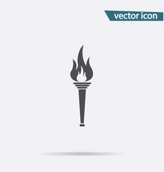 gray olympic torch flame icon isolated on backgrou vector image