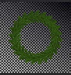 Green christmas wreath isolated on checkere vector