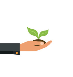 green sprout in a hand sign of environmental vector image