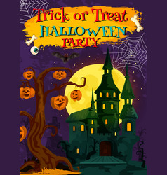 Halloween card of ghost house with pumpkin lantern vector