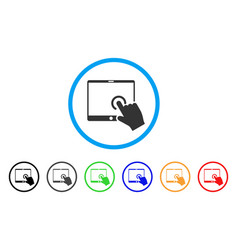 Hand touch pda rounded icon vector