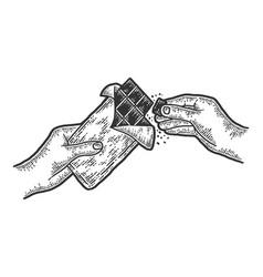 Hands breaking chocolate slow motion sketch vector
