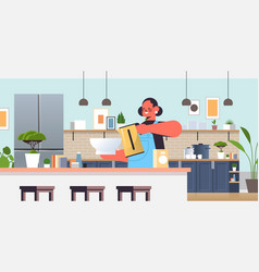 happy woman preparing food cooking at home concept vector image