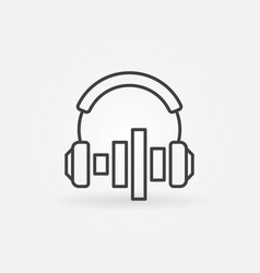 headphones with sound equalizer icon in vector image