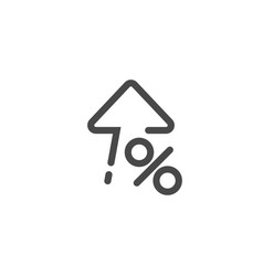 high percent interest percent up icon in linear vector image
