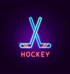 Hockey neon label vector