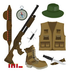 Hunter set in flat style camouflage hat gun with vector