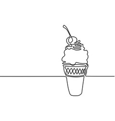 ice cream in a waffle cup with cherry vector image