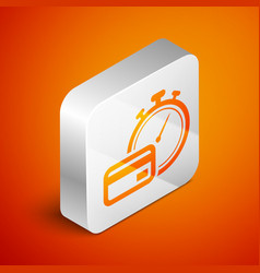 Isometric fast payments icon isolated on orange vector