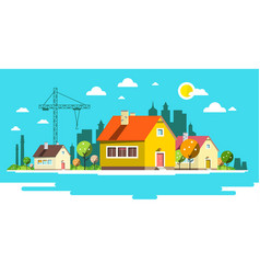 landscape with houses flat design city vector image