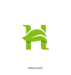 letter h with leaf logo design concept initial h vector image
