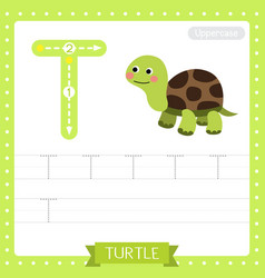 Letter t uppercase tracing practice worksheet of vector