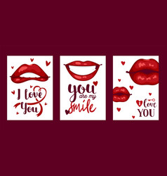 lip pattern cartoon beautiful red lips in vector image