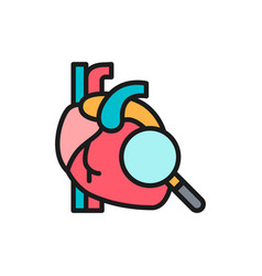 Loupe with heart heart check flat color line icon vector