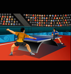 men playing table tennis in the competition vector image
