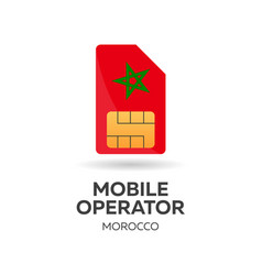 Morocco mobile operator sim card with flag vector