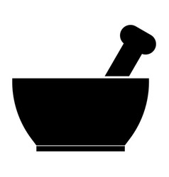 Mortar and pestle the black color icon vector