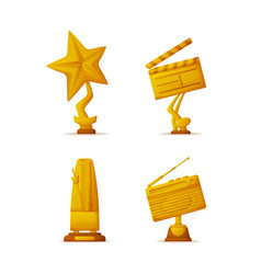 Movie and music awards gold trophy cups or prizes vector