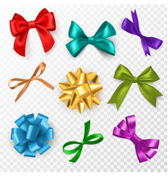 multi-color gift bows red blue and vector image