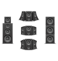 Music speaker twisted isolated 3d realistic icons vector